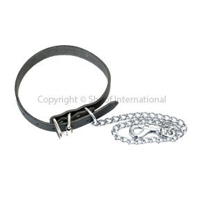 Dog Collar Leather w Chain size 3