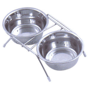 Pet Bowl Stainless Set & Stand Small cpt